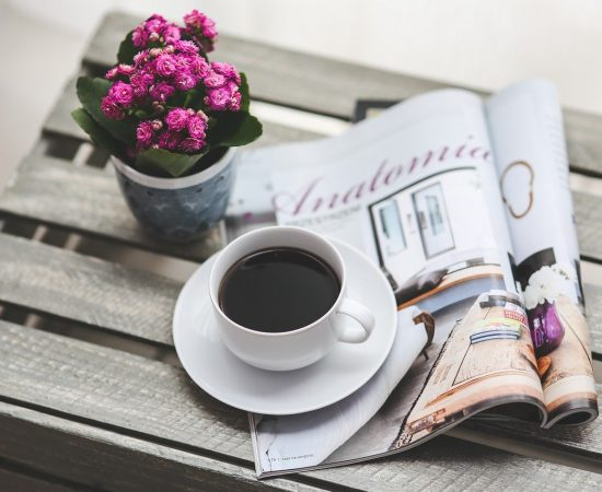 coffee, magazine, newspaper
